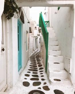 Small, narrow alleys shaping Mykonos Town