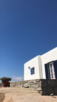 Typical white houses and the blue heaven